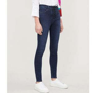 J Brand x Steph Shep Lace Up High Rise Skinny
